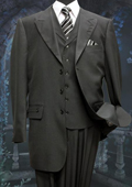 Mens 3 Peice Solid Fashion Suit With A Vest Black $175