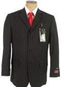 John Paul Black Pinstripe Super 120's Wool premier quality italian fabric Design 3 Buttons $225