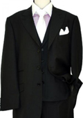 Mens Solid Black Wool & Silk Vested Suit $285