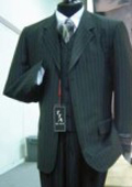 3 Button Wide Pinstripe In Charcoal Grey Vest Included $159