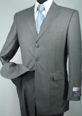3 Button Charcoal Stripe