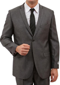 Solid Herringbone Mens 2 Button Front Closure Suit