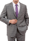 Mens Light Grey 2 Button Front Closure Suit
