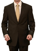 SKU#M060000 Mens 3 Button Front Closure Solid Black Pinstripe Suit $139