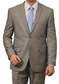 Mens 2 Button Front Closure Slim Fit Suit Light Grey