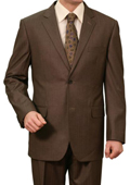 Mens Brown Pin Stripe 2 Button Front Closure Notch Lapel Suit $139