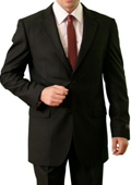 SKU#M085000 Men's 2 Button Front Closure Notch Lapel Suit Solid Black $139