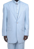 Men's Fashionable 1 Button Zoot Suit With Vest Light Blue ~ Sky Blue $175