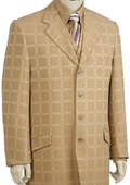SKU#OY7625 Mens 3 Piece Fashion Zoot Suit in Windowpane Taupe