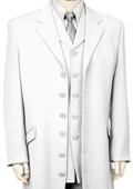 SKU#HW7190 Men's Stylish Long Zoot Suit + Shirt + Tie + Vest White $250