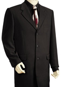 SKU#FJ5100 Mens Fashionable 3 Button Solid Black Zoot Suit $175