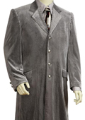 Mens Fashionable Long Velvet Suit Silver 45'' Long Jacket EXTRA LONG JACKET Maxi Very Long