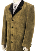 SKU#TF3452 Mens High Fashionable 4 Button Long Zoot Suit Taupe