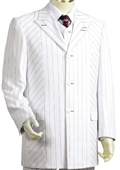 Men's Black Pinstripe 3 Piece Vested White Zoot Suit $189