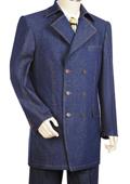 SKU#UC7702 Men's Stylish 3 Button Blue Zoot Denim Fabric Suit