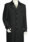SKU#HT5620 Mens 4 Button Solid Black Long Zoot Suit 45'' Long Jacket EXTRA LONG JACKET Maxi Very Long $175