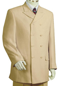 SKU#EV4055 Men's Triple Breasted 8 Button Wide Leg Fashion Suit Taupe