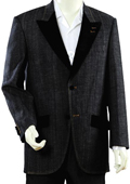 SKU#HT702 Mens Luxurious Black Zoot Denim Fabric Suit $189