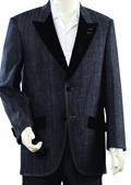 SKU#GU8937 Mens High Fashion Navy Zoot Denim Fabric Suit