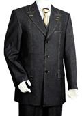 SKU#YK5245 Men's 3 Piece Vested Black Zoot Denim Fabric Suit