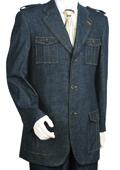 SKU#GL5055 Mens Stylish Blue Fashion Zoot Denim Fabric Suit