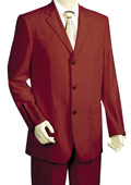 3 Button High Fashion Wine Zoot Suit