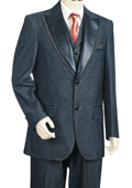SKU#VF7854 Mens 3 Piece Vested Blue Fashion Zoot Denim Fabric Suit $189