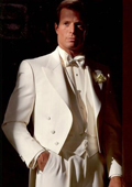 SKU#ER9824 Men's Ivory Parisian Tail Tuxedo 3 Button Vested & Bow Tie Package $299