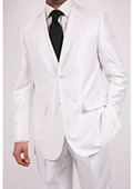 SKU#LH8765 Ferre Men's Shiny White Two-button Two-piece Slim Fit Suit $189