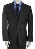 Men's Charcoal Subtle Glen Plaid Super 120s Wool 2-Button Suit With Single Pleated Pants $175