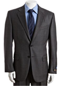 Men's Grey Plaid Check Super 120s Wool 2-Button Suit with Single Pleated Pants $175