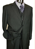 Mens Black Pinstripe 3 Piece 2 Button Italian Designer Suit $175