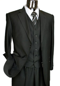 Mens Black Tone on Tone 3 Piece 2 Button Italian Designer Suit $175