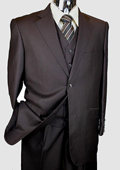 Men's Brown 3 Piece 2 Button Italian Designer Suit $175