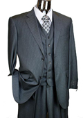 Mens Charcoal Pinstripe 3 Piece 2 Button Italian Designer Suit $175