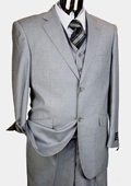 Men's Light Grey 3 Piece 2 Button Italian Designer Suit
