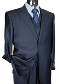 Men's Navy Tone on Tone 3pc 2 Button Italian Designer Suit $199