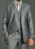 Men's Two Button Vested Shiny Flashy Metallic Light Grey Slim Fit Suit