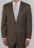 SKU#JF4520 Mens Two Button Taupe Wool Suit