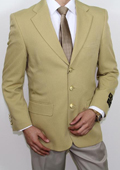 Men's Three Button Super 120's Gold Blazer