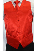 Men's Shiny Red Microfiber 3-piece Vest $75