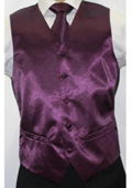 Men's Shiny Dark Purple Microfiber 3-piece Vest $55
