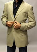 Tan ~ Beige Sport Coat with Square Pattern This Jacket Is a Winner 2 Button $89
