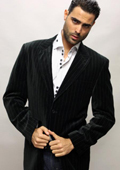 SKU#VR7200 Black with White Stripe Sport Coat It's One of a Kind Super 150's For All Occasion $89