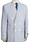 Mens Unique Double Breasted Seersucker Suit in Soft Poly Rayon Grey $175