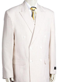 Mens Unique Double Breasted Seersucker Suit in Soft Poly Rayon White $175