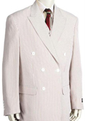 Mens Unique Double Breasted Seersucker Suit in Soft Poly Rayon Grey $185