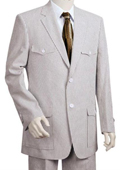 Mens Fashion Seersucker Suit in Soft 100% Cotton Blue $185