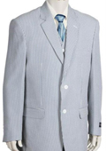 Mens Fashion 3pc Seersucker Suit in Soft Poly Rayon Blue $185