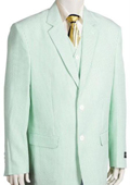 Mens Fashion 3 Piece Seersucker Suit in Soft Poly Rayon Whitelime mint $185